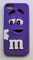 Чехол на Айфон 5/5s/SE M&Ms приятный Силикон Фиолетовый, фото 1