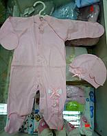 """Человечек и шапочка для малышей """"Рюши"""" розовый"""