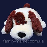 """Подушка-игрушка """"Собачка"""" белая с коричневым 45 см"""