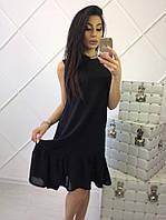 Модное черное платье до колена