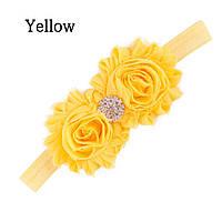 Повязка детская САБРИНА желтая повязочка для волос детские украшения для девочек