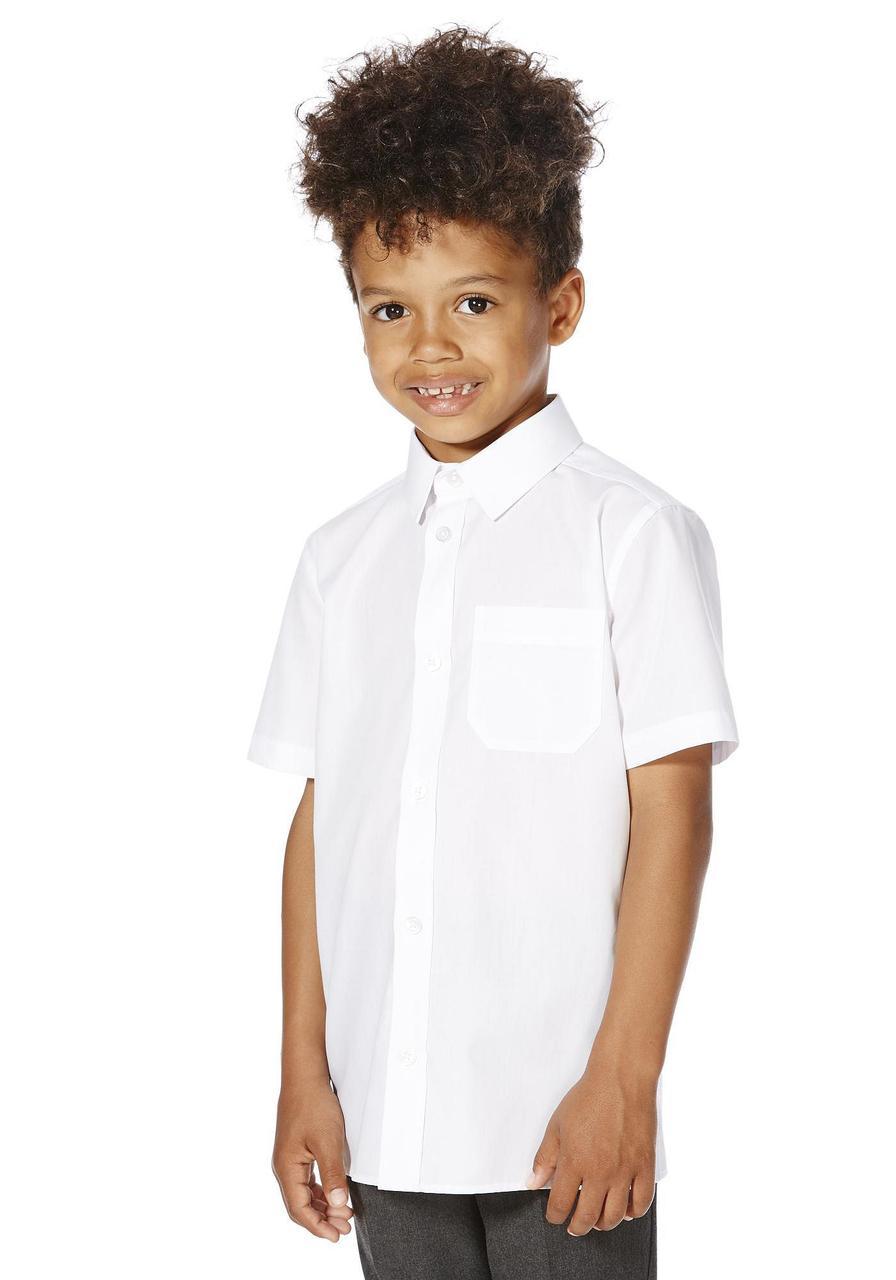 Школьная рубашка белая с коротким рукавом на мальчика 5-6-7-8-9-10 лет F&F (Англия)