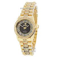 Часы Rolex 1083-1 Datejust Quartz Women Diamonds Gold-Black