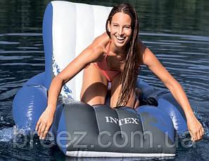 Пляжный надувной шезлонг для плаванья Intex  белый 180 х 135 см  , фото 3