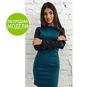 """Платье с кожаным рукавом """"Milana"""". Распродажа модели черный, 44"""