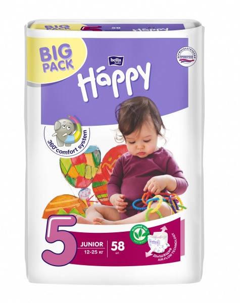 Подгузники Bella Happy Junior 5 (12-25 кг) BIG PACK 58 шт.
