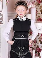 Школьный сарафан для девочки Бант, чёрный и синий