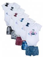 Комплект 2ка шорты-бодик для девочки Бель 68р, 2КП-387-68