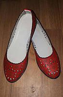 Балетки кожаные красные с перфорацией, фото 1