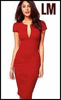 Платье-футляр женское красное Леди летнее деловое. Размер 44