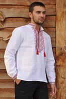 Вышиванка мужская льняная с длинным рукавом пат+манжет Модель: М02/1-212