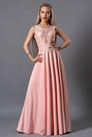 Платье макси розовое