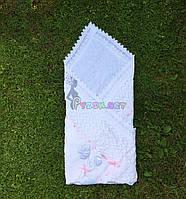 """Конверт-плед для новорожденных легкий на выписку и в коляску """"Аист"""" белый, розовая ленточка"""