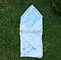 """Конверт-плед для новорожденных легкий на выписку и в коляску """"Аист"""" белый, синяя ленточка, фото 1"""