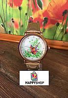 Женские кварцевые часы Butterfly (Золотые)