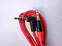 Шнур AUX Jack-Jack 3.5мм угловой (1м) красный