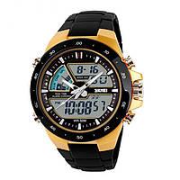 Мужские Спортивные Часы Skmei Shark Черные с желтым (Код 075)