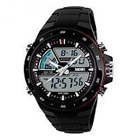 Мужские Спортивные Часы Skmei Shark Черные с красным (Код 075)