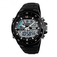 Мужские Спортивные Часы Skmei Shark Черные с белым (Код 075)