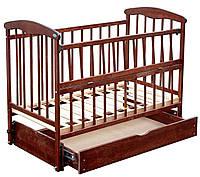 Кроватка для новорожденных Наталка,откидная боковина с маятником и ящиком Ольха темная
