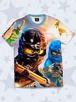 """Детская 3D-футболка с красочным принтом/рисунком """"Lego Ninjago"""" с любимыми мультипликационными персонажами."""