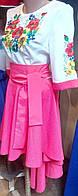 Модное вышитое платье удлиненное сзади, фото 1