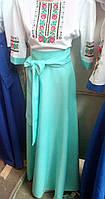 Длинное вышитое платье с орнаментом (цвет мяты)