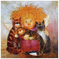 """Картина для рисования камнями Алмазная вышивка """"Ангел и кошки"""" , фото 1"""