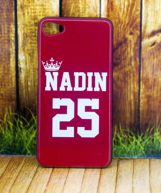 Именной чехол Nadin красного цвета с короной и цифрами 25 для модели телефона Meizu U10