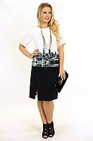 Enigma Store P 0746 Коктейльное платье с принтом и разрезом и рукавом 3/4