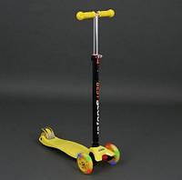 Самокат Scooter Best Maxi желтый (с регулировкой ручки и светящимися колесами) арт. 466-113