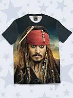 """Детская футболка с рисунком/принтом """"Капитан Джек Воробей"""". Размеры от 1 года до 10 лет."""