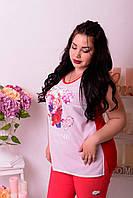 Женская майка больших размеров Пионы красная