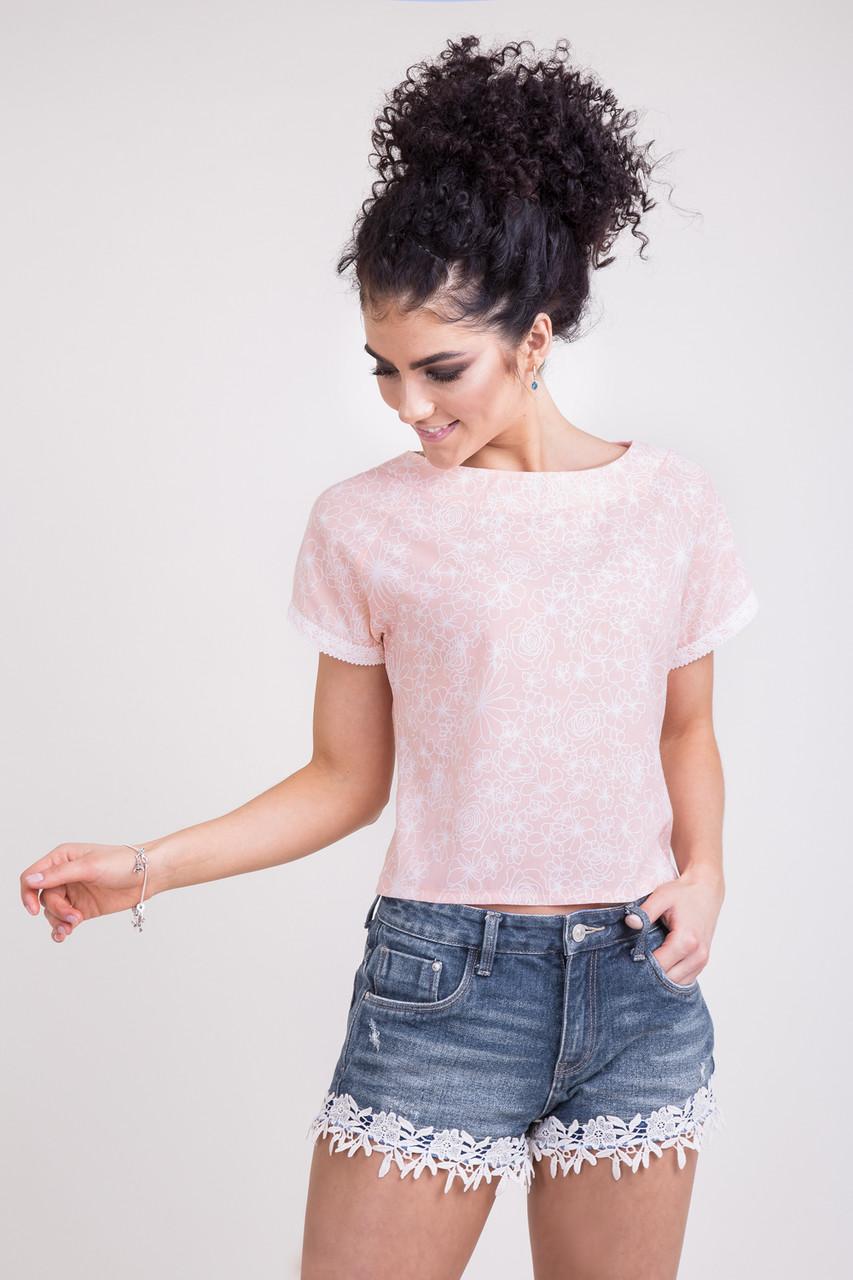 Стильная молодежная женская блуза цвета пудры