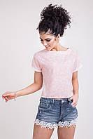 Стильная молодежная женская блуза цвета пудры, фото 1