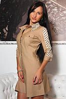 Платье женское короткое из габардина со вставкими из шифона P6303