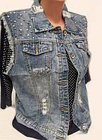 Модная джинсовая жилетка большого размера 120635