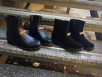 Женские ботинки Moschino из натуральной черной кожи и замши, внутри байка