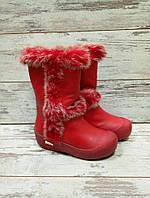Ботинки зимние с высокой резиновой подошвой, эко кожа, красные.