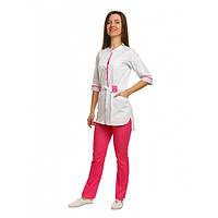 Медицинский костюм Дели белый/розовый
