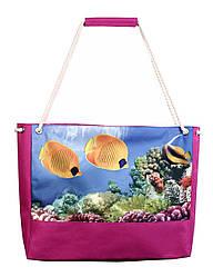 Пляжная сумка рыбы малиновая