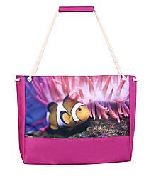 Пляжная сумка с рыбками малиновая