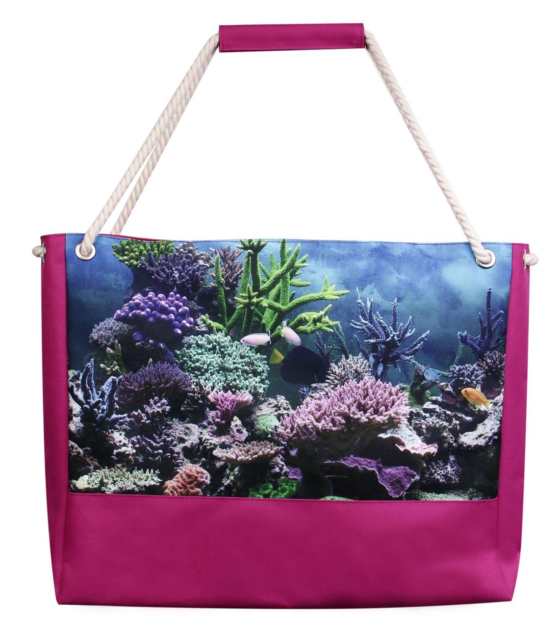 Пляжна сумка морська малинова