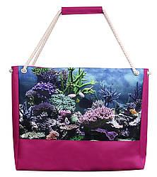Пляжная сумка морская малиновая