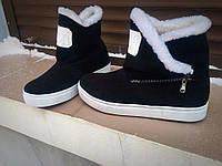Женские зимние замшевые ботиночки на молнии, на меху