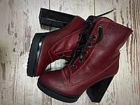 Женские зимние кожаные ботинки на каблуке, цвета марсала