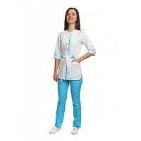Медицинский костюм Дели белый/голубой