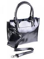 Женская кожаная сумка с косметичкой черная 1027G