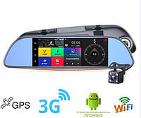 "Сенсорное Android зеркало заднего вида 7"" с видеорегистратором,  2 камеры, GPS навигатор, 3G, WiFI,"