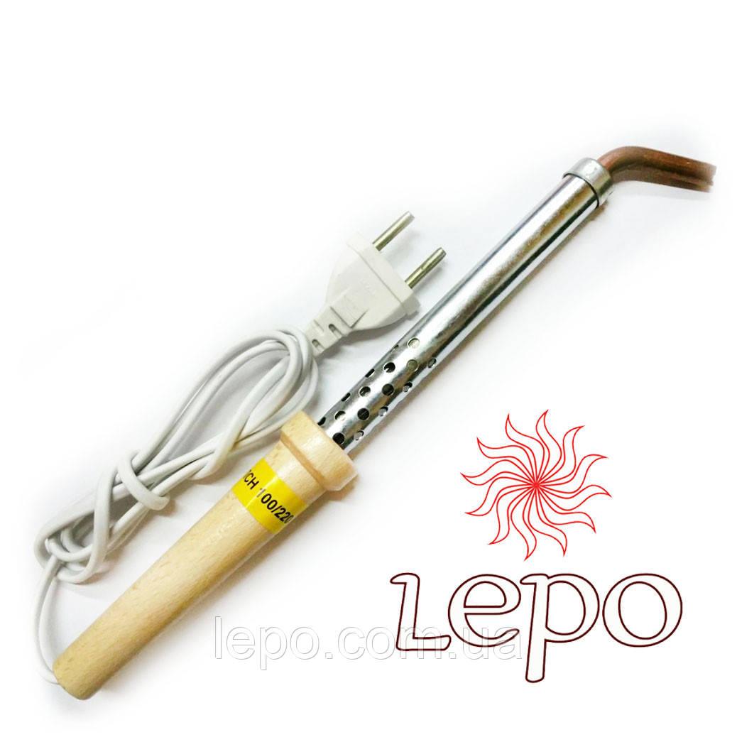 Паяльник 100 Вт ЭПСН 100/220 с деревянной ручкой, изогнутым жалом
